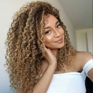 New Ombre Women Wig Brown Afro Kinky Curly Wig